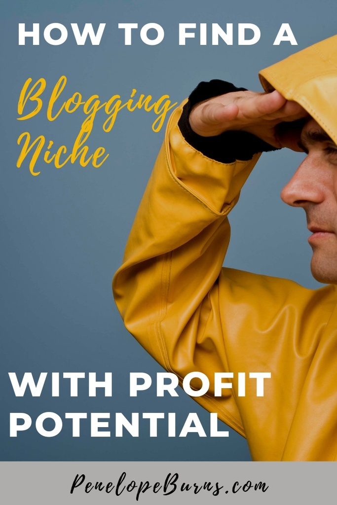 A man in a bright yellow waterproof jacket searching for a Blogging Niche that Actually Has Profit Potential
