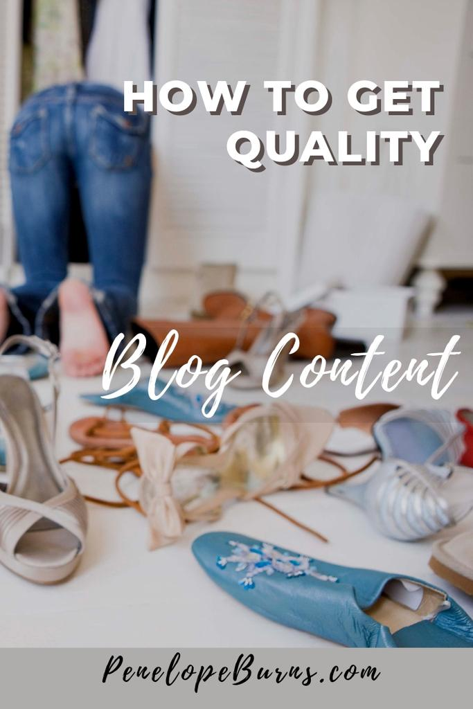 Woman searching in her shoe cupboard - How To Get Quality Blog Content P1